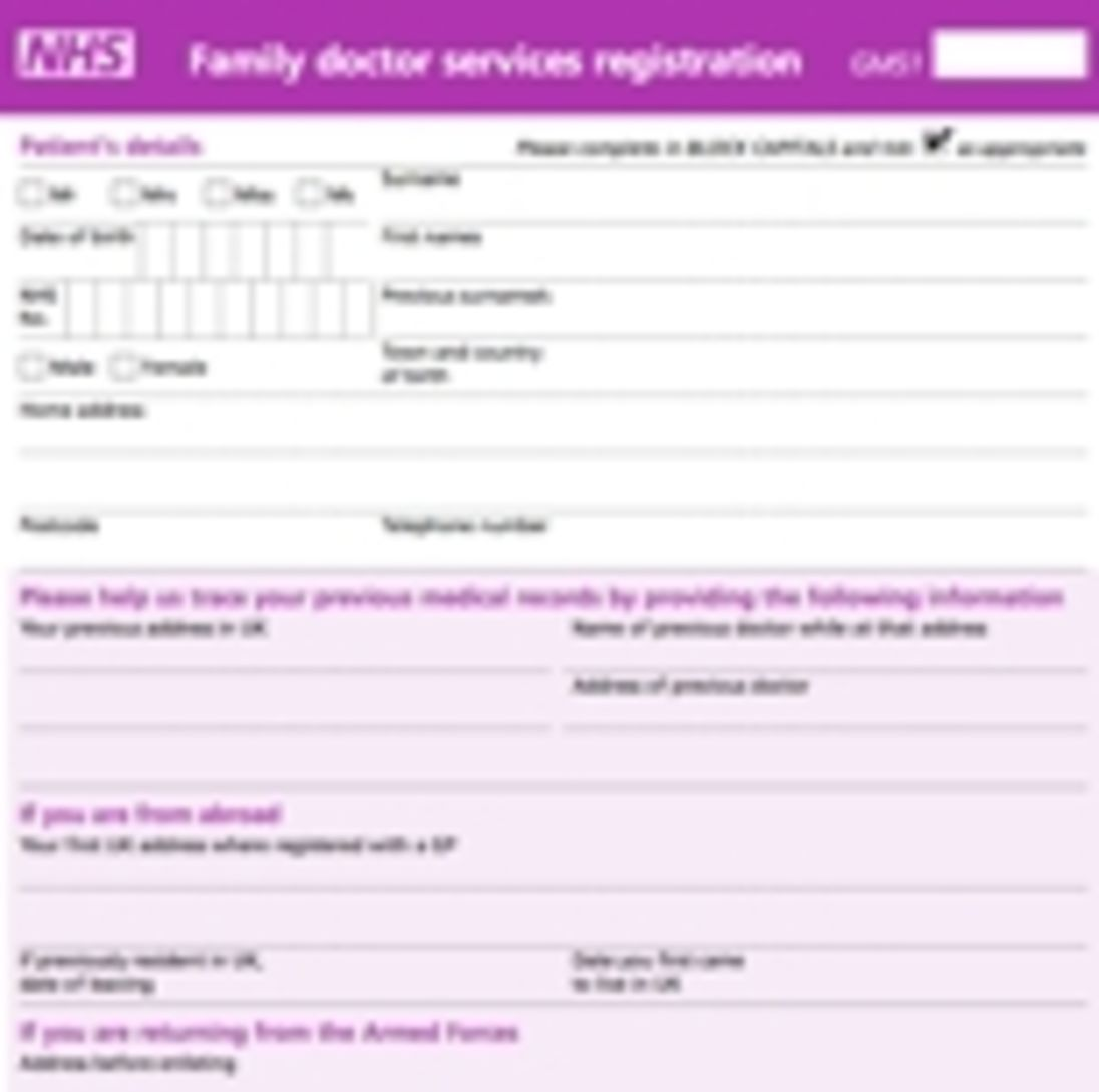 Permanent Patient Registration Form (GMS1)